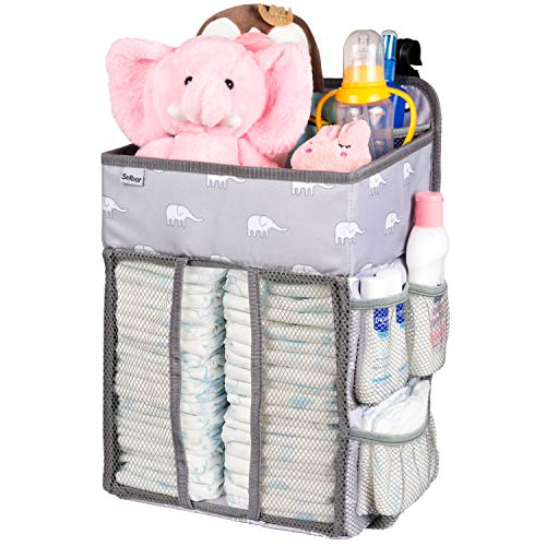 Hanging Nursery Organizer and Baby Diaper Caddy, Selbor Diapers Stacker Storage Bag for Changing Table, Crib, Playard or Wall - Nursery Organization & Baby Shower Gifts for Newborn (Elephant) from Selbor