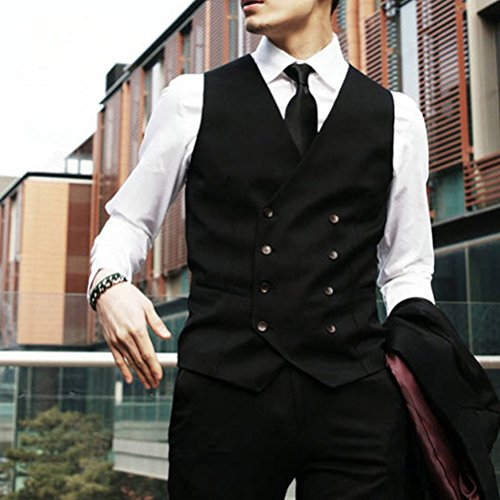 Mens Soft Double Blazer suave Zhhlaixing Moda Breasted Sleeveless Tops Black Suit Formal Vest 1RnETOU