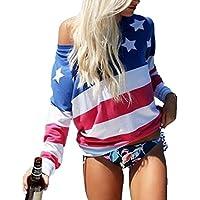 DUTUT Women's American Flag Print Tops Crewneck Long Sleeve T Shirts Loose Sexy Top Blouse