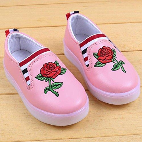 Prevently Kleinkind Kinder Sport Casual Babyschuhe Jungen Mädchen LED Leucht Schuhe Turnschuhe Kinder Blumen Stickerei LED-Licht Freizeitschuhe Turnschuhe Schuhe Rosa