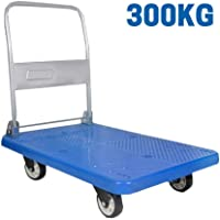 "EQUAL Foldable Platform Trolley For Lifting Heavy Weight, 300 Kg Capacity, Blue Color, 5"" wheel (60cm x 90cm)"