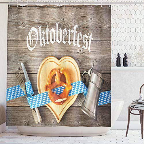 Ambesonne Festival Decorations Collection, Oktoberfest Beer Festival Cutlery Ribbon and Cutting Board on Restaurant Table, Polyester Fabric Bathroom Shower Curtain Set with Hooks, Blue Gray -