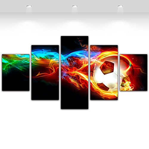 5 Panels Canvas Wall Art-Colorful Flame Football Picture Prints Painting for Soccer Fan Home Decor Framed,Large Size 150cmX80cm,Ready to hang (Soccer Print Ball)