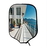 YOLIYANA White Decor Durable Racket Cover,Penthouse Summer Home with Wide Patio Balcony Veranda with Sea Scenery for Sandbeach,One Size