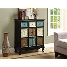 Monarch Specialties Apothecary Bombay Chest, Distressed Black/Multi-Color
