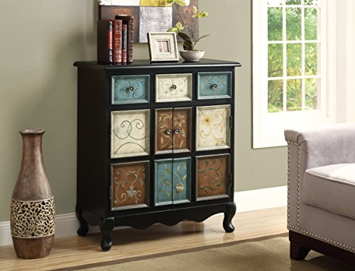 Monarch Apothecary Bombay Chest, Distressed Black/Multi-Color (Small Apothecary Chest)