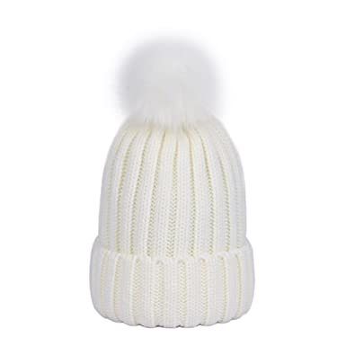 38637ceba95e Lau s Bonnet tricot femme chaud hiver, Bonnets ski côtelé avec amovible  pompon en fausse fourrure