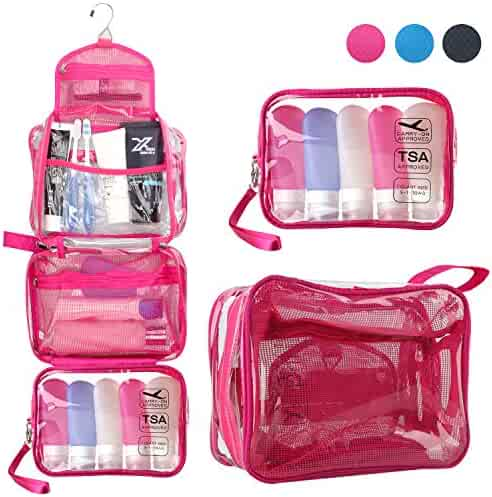 Toiletry Bag for Women, TSA Approved Clear Travel Hanging Toiletry Bag Detachable Small Bag Waterproof Carry On Airline 3-1-1 Compliant Bag Quart Sized Luggage Pouch (Clear Hot Pink)