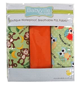Babyville Boutique Packaged PUL Fabric, Playful Friends Monkey and Hoot