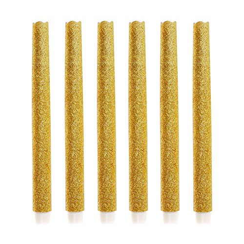 Pack 6 Flamlesss Led Taper Candles,12 Inch Battery Operated Candle with Timer, Gold Glitter for Christmas and Halloween Decoration