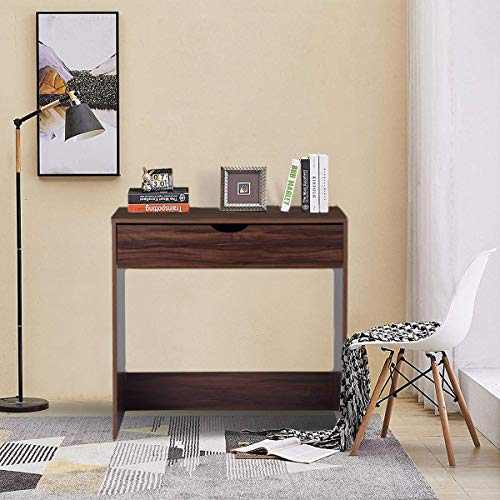 Computer Writing Desk with 1 Storage Drawer Wooden Study Table Desk for Home Office, Walnut Brown TAR012 by Coavas (Image #4)
