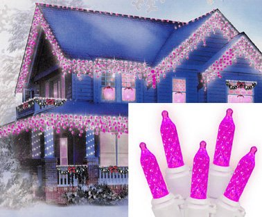 sienna hot pink led m5 icicle christmas lights with white wire set of 70