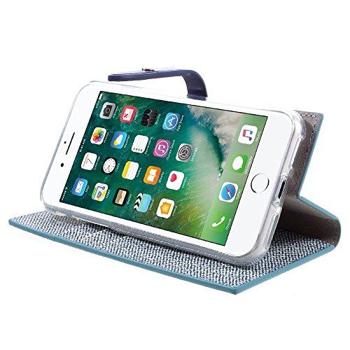MERCURY GOOSPERY für iPhone 7 4.7 Milano Diary Leather Tasche Hüllen Schutzhülle - Case Wallet with Stand - blau