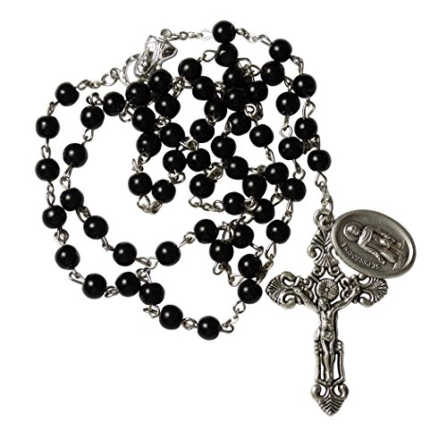 Saint Peregrine Cancer Victims Patron Black Rosary Silver Plated Crucifix Leather Case Blessed Prayer (Rosary Silver Plated Crucifix)