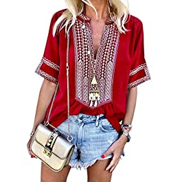 FARYSAYS Women's Casual Boho Embroidered V Neck Short/Long Sleeve Shirts Loose Blouse Tops