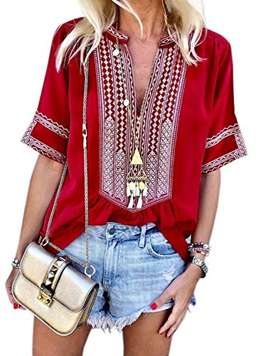 Chase Secret Womens Boho Embroidered V Neck Short Sleeve Summer Shirt Blouses Tops Large - Shirt Jacket Embroidered
