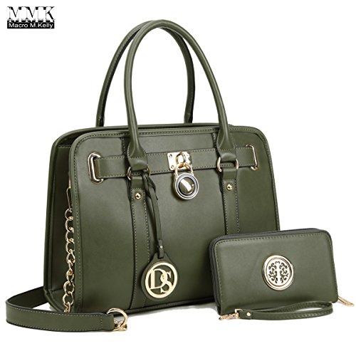 Designers Handbags (MMK collection Women Fashion Pad-lock Satchel handbags with wallet(2553)~Designer Purse for Women ~Multi Pocket ~ Beautiful Designer Handbag Set (KK-03-7103W-D.GN (Army Green)))