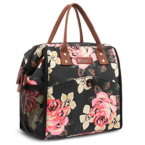 CoolBELL CMFLYD0473 Women Floral Tote Water-Resistant Cooler Bag Soft Leak Proof Box Insulated Lunch Holder with Wide Opening for Wome, M, Peony Flower