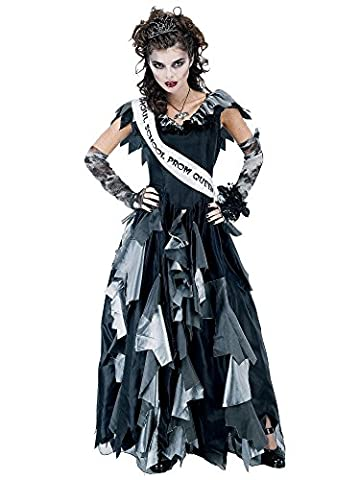 Paper Magic Zombie Prom Queen-2 Costume, Black/Gray, One Size - Black Queen Adult Costume