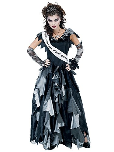 Paper Magic Zombie Prom Queen-2 Costume, Black/Gray, One - Sash Prom Queen Satin