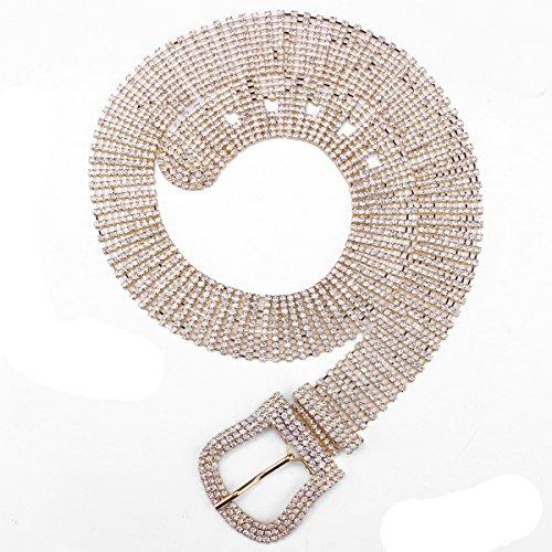 FUMUD Crystal Rhinestone Chain Waist Buckle Belt Fashion Accessory for Women (Gold)