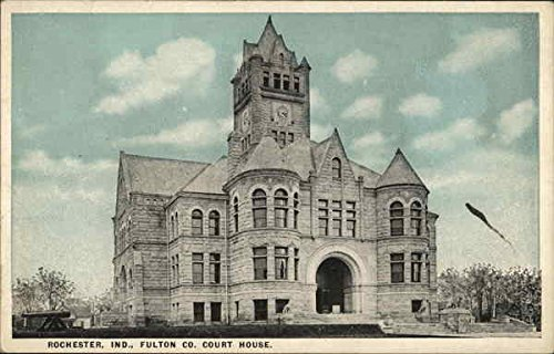 Tint Photo Postcard - Fulton Co. Court House Rochester, Indiana Original Vintage Postcard
