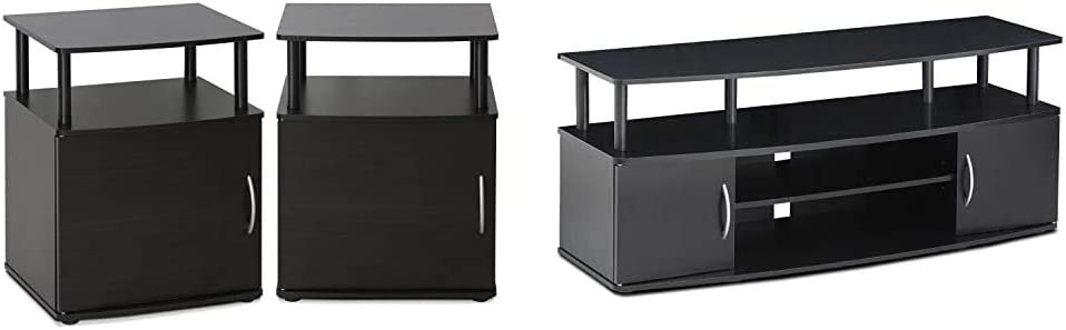 FURINNO End Table, Two, Black Wood & Jaya Large Entertainment Stand for TV Up to 50 Inch, Blackwood