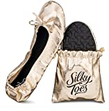 Silky Toes Women's Foldable Portable Travel Ballet Flat Roll Up Slipper Shoes with Matching Carrying Pouch (Large, Gold)