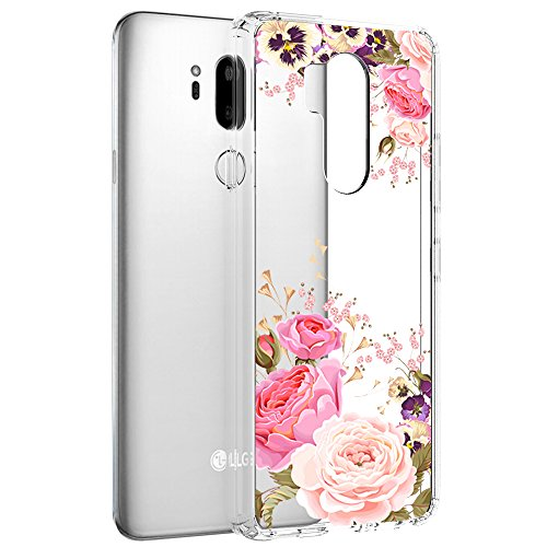 LG G7 ThinQ Case, LG G7 Case, Vinve [Crystal Clear] Anti-Scratch Shockproof Cover Clear Hard Back Panel + TPU Bumper Slim Case for LG G7 ThinQ / G7 (Peony)