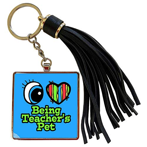 3dRose Dooni Designs Eye Heart I Love Designs - Bright Eye Heart I Love Being Teachers Pet - Tassel Key Chain (tkc_105862_1)