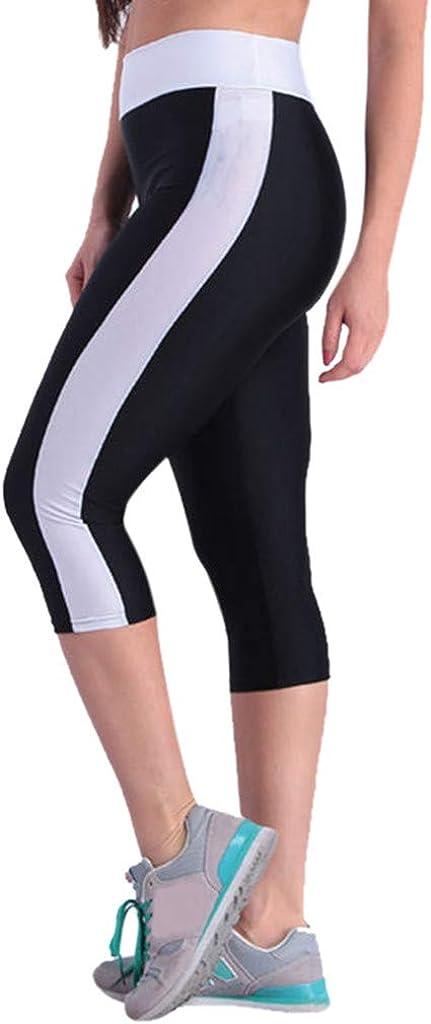 AmyDong Sports Workout Capris Leggings Trousers Side Pockets Womens High Waist Tummy Control Yoga Pants