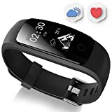 Fitness Tracker - Ausun 107 Plus Heart Rate Monitor Waterproof Activity Tracker Calories Counter Smart Wristband GPS Pedometer Watch Sports Bracelet with Sleep Monitor - Black