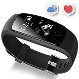 Fitness Tracker, Ausun 107 Plus Heart Rate Monitor Waterproof Activity Tracker Calories Counter Smart Wristband GPS Pedometer Watch Sports Bracelet with Sleep Monitor, Black