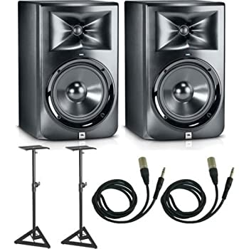 jbl lsr308 studio monitor pair w stands 1 4 trs to xlr cables musical instruments. Black Bedroom Furniture Sets. Home Design Ideas