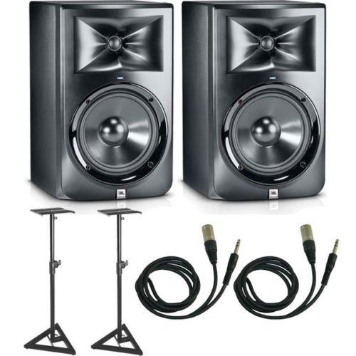 JBL LSR308 Studio Monitor Pair w/ Stands & 1/4