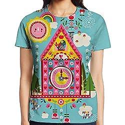 Cuckoo Clock Teen Girl Funny Pullover T-shirt For Running Crewneck Casual Tee Short-Sleeve