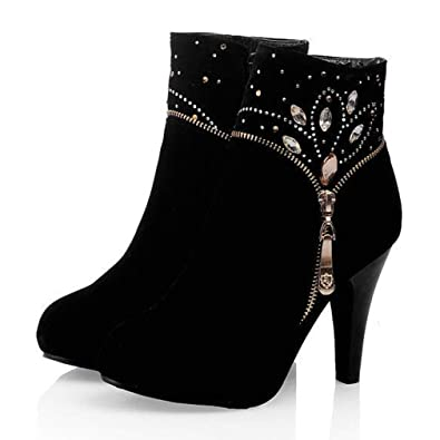 78f85b231dd5 CYBLING Womens Ankle Boots Side Zipper Stiletto High Heeled Shoes Faux  Suede Rhinestone Dress Booties Black
