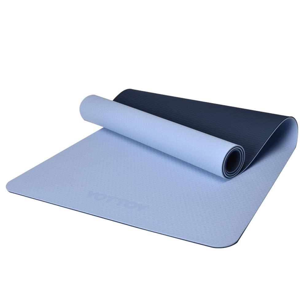 YD ヨガマット - ノンスリップ初心者の男性と女性のスポーツフィットネスヨガピラティス多機能ヨガマット[3色オプション]厚さ6ミリメートル/ 8ミリメートル /& B07MFKMG6K 6mm (beginner) 青 青 6mm (beginner)