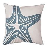 North End Décor Coastal Blue Starfish Chain Stitch Pillow 18'' x 18'' (Stuffed Insert Included)