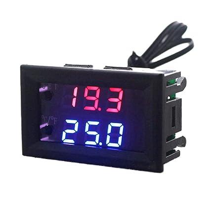 KETOTEK Termómetro de Acuario Controlador de Temperatura Digital LED Medidor de termometro Pecera Coche Invernadero Celsius