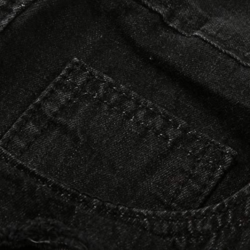 ADELINA Hombres Vaqueros Dril Destruidos Mezclilla De Los Ajustados del Pantalones Negro Vaqueros Ajustados De Delgados Pantalones Vaqueros La Vaqueros Ropa Pantalones Pantalones Hombres De Hombres rvwAqrBxH
