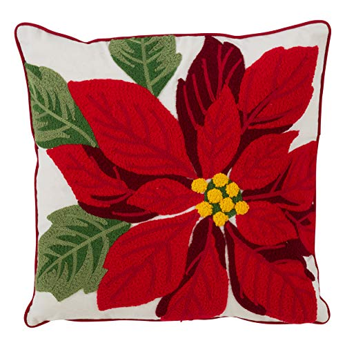 SARO LIFESTYLE Stella di Natale Collection Down- Down-Filled Poly Blend Throw Pillow with Poinsettia Design, 16