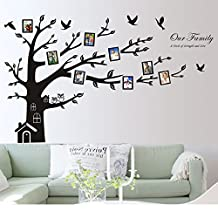 """Homecube 72"""" x 100"""" XXXL Huge Wall Art Sticker Family Photo Frame Tree Wall Decal Removable Vinyl Decor with Warm House and Chimney Cute Couple Owls on the Tree(Large Right)"""