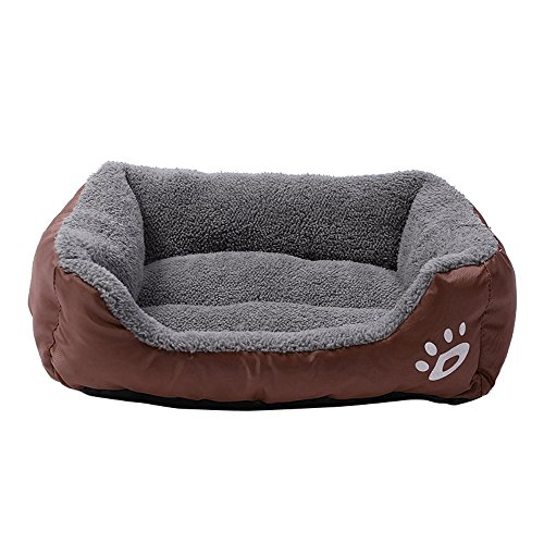 Comfy Pet Bed Mat,Warming Lounge Sleeper Cushion Pad Cuddle Couch with Paw Print (M, Coffee) ()