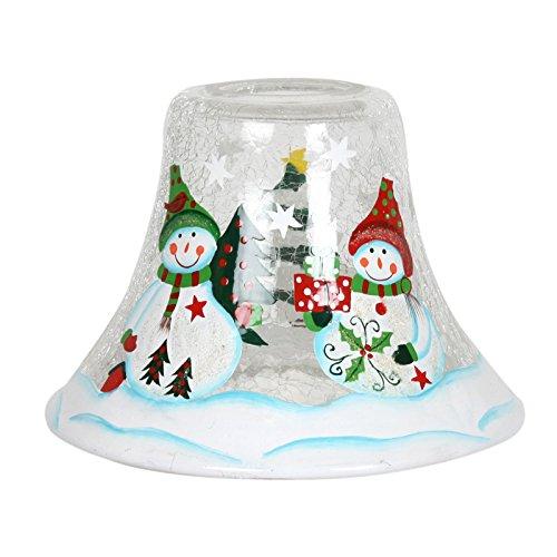 Lampe Bougie en bocal Bonhomme de neige 16 cm Village Candle