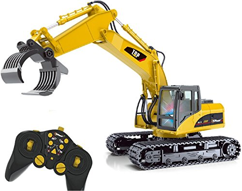 Top Race® 15 Channel Remote Control RC Fork Excavator, Construction Grapple Fork Tractor ~ Metal Fork ~ (TR-215) (Remote Control Excavator compare prices)