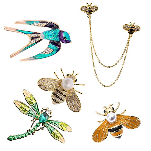 Luo's Brooches pin with Crystal brooches for Women Assembly by Enamel Animal Dragonfly Honeybee brooches with Gift Box 5 ()