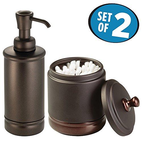 mDesign Bathroom Accessory Set, Soap Dispenser Pump, Canister Jar - Set of 2 - Split Bronze