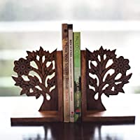 ExclusiveLane Wooden Tree Life Book End In Sheesham Wood - Bookends Book Organizers Holder Book Ends Shelves Decorative Bookends Kids Heavy Books Book Ends Office Bookends Supports Set