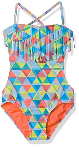 Roxy Little Girls' Geo Fringe One Piece, Neon Coral, 5